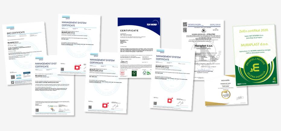 Muraplast Zertifikate