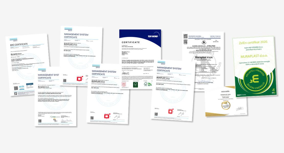Zertifikate des Unternehmens Muraplast